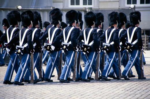 Stock Photo: 1555R-160071 Amalienborg guards, Copenhagen, Denmark