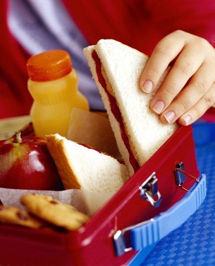 Child taking sandwich out of lunchbox : Stock Photo