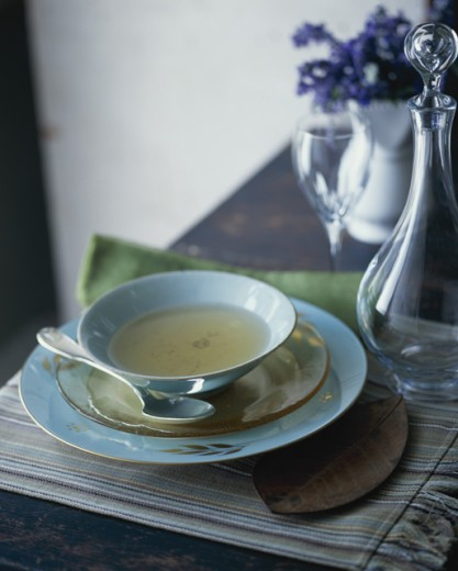 Bowl of consomme : Stock Photo