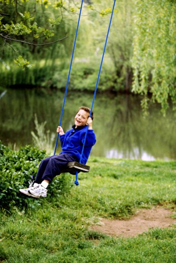 Boy on swing : Stock Photo