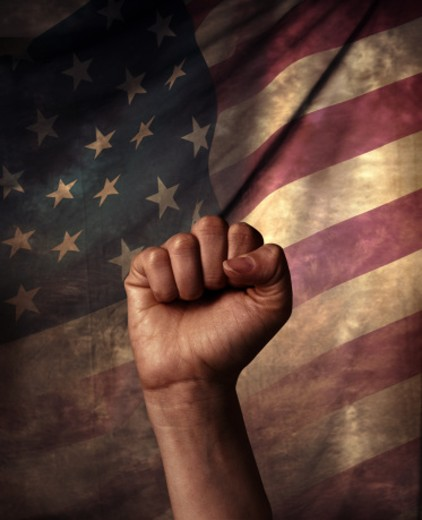 Fist and American flag : Stock Photo