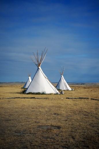 Stock Photo: 1555R-176086 Teepees, North Dakota