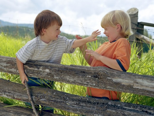 Stock Photo: 1555R-186074 Boys playing on fence