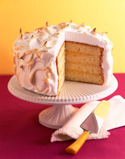 Layer cake with meringue frosting : Stock Photo