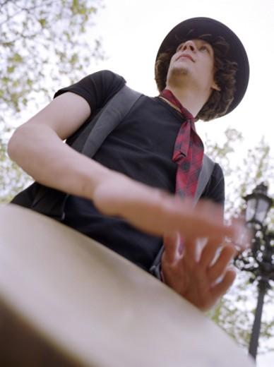 Stock Photo: 1555R-200025 Man playing drum