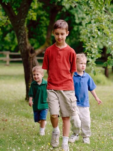 Boys walking : Stock Photo