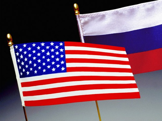 Stock Photo: 1555R-2044 Flags of United States and Russia