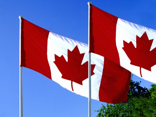 Stock Photo: 1555R-2078 Flags of Canada