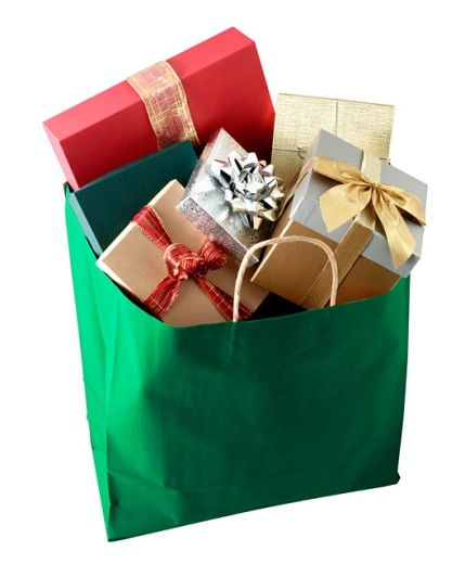 Stock Photo: 1555R-220004 Shopping bag full of gifts