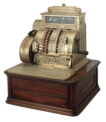 Stock Photo: 1555R-22059 Old-fashioned cash register