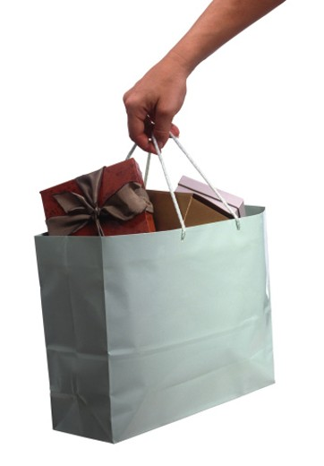 Hand carrying a gift bag : Stock Photo