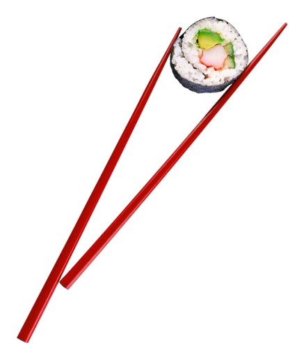 Sushi with chopsticks : Stock Photo