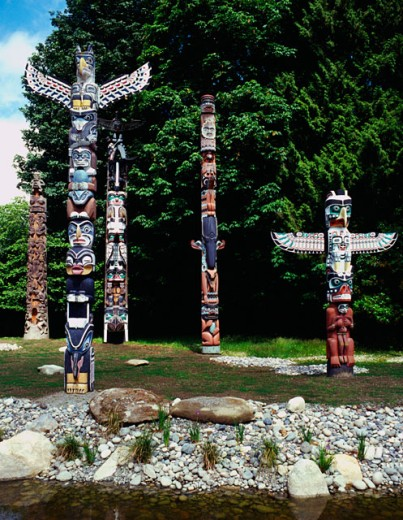 Totem poles, Vancouver, British Colombia : Stock Photo