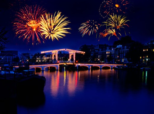 Fireworks, Amsterdam, Holland : Stock Photo