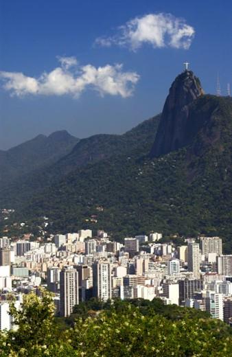 Stock Photo: 1555R-232064 Corcovado overlooking Rio de Janeiro, Brazil