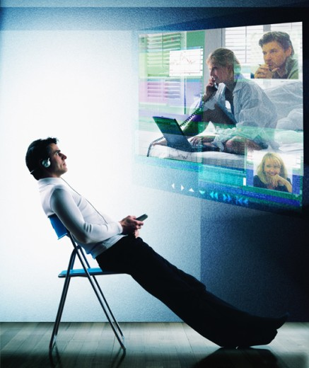 Stock Photo: 1555R-242025 Video teleconferencing