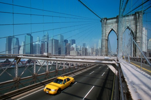 Taxicab on Brooklyn Bridge : Stock Photo