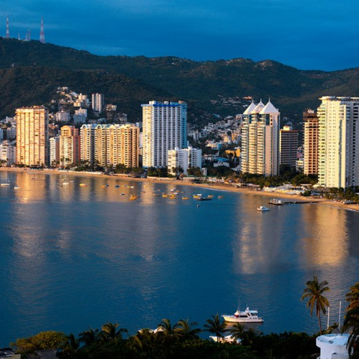 Stock Photo: 1555R-244041 Acapulco Bay skyline, Mexico