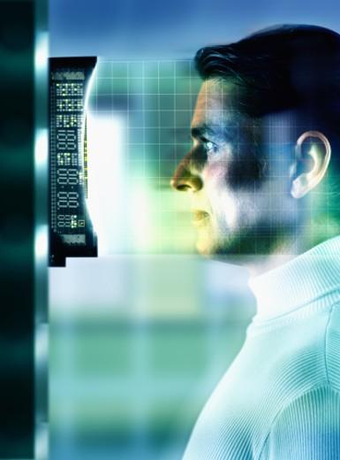 Man at a retinal scan : Stock Photo