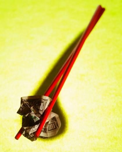 Stock Photo: 1555R-254025 Chopstick with money