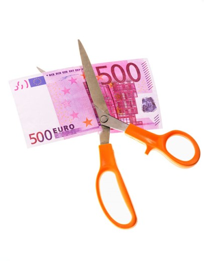 Scissors and five hundred euro banknote : Stock Photo