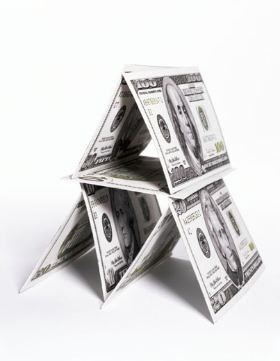 Stock Photo: 1555R-254062 House of cards made of American currency