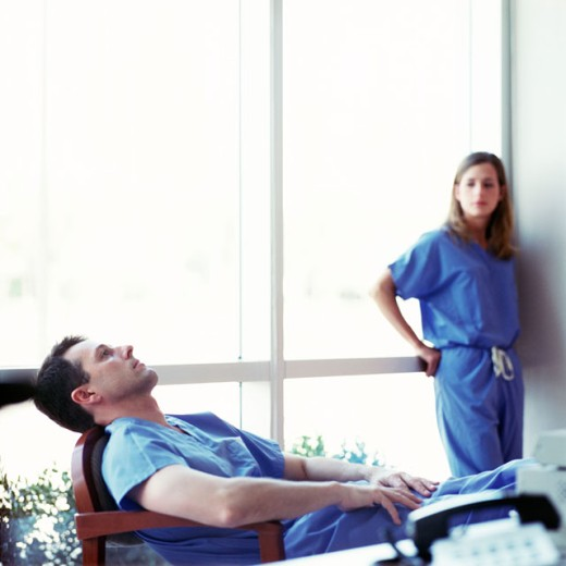 Stock Photo: 1555R-258048 Tired medical professionals