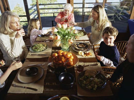 Stock Photo: 1555R-293012 Family enjoying a healthy meal