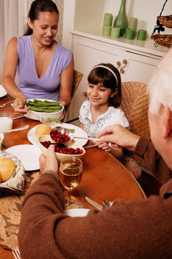 Stock Photo: 1555R-293056 Family having dinner