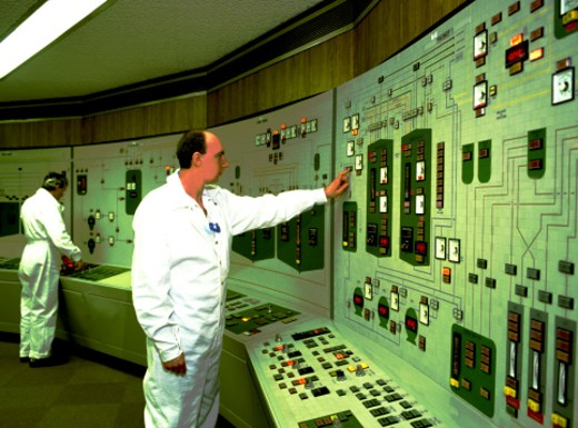 Control room in nuclear power plant : Stock Photo