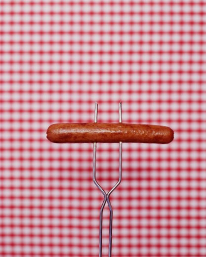 Hot Dog on Fork : Stock Photo