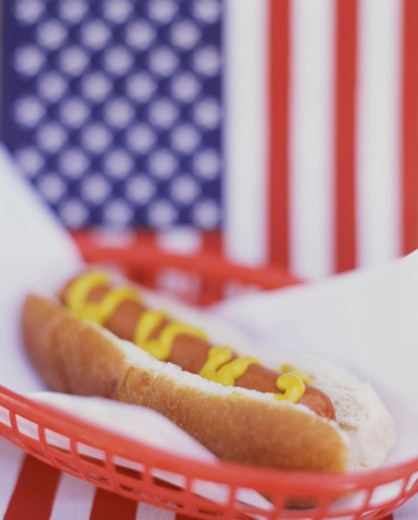 Hot Dog with American Flag Background : Stock Photo