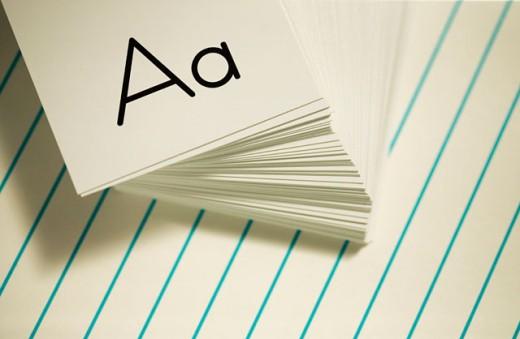 Stock Photo: 1555R-304569 Alphabet flash cards
