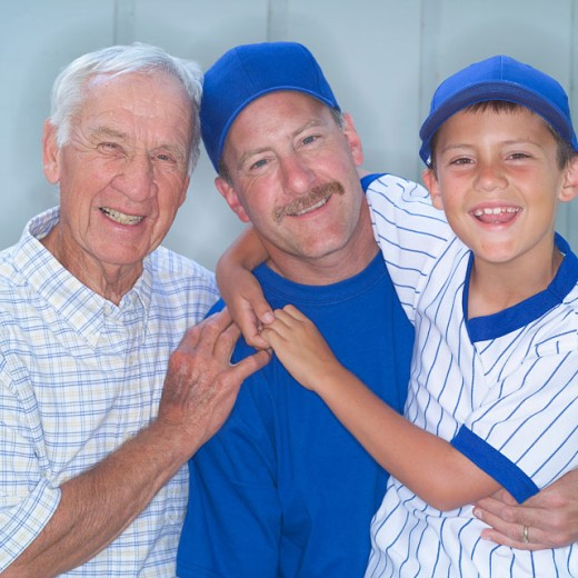 Stock Photo: 1555R-304811 Grandfather with son and grandson