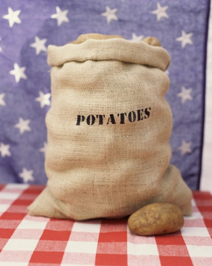 Potatoes with Patriotic Background : Stock Photo