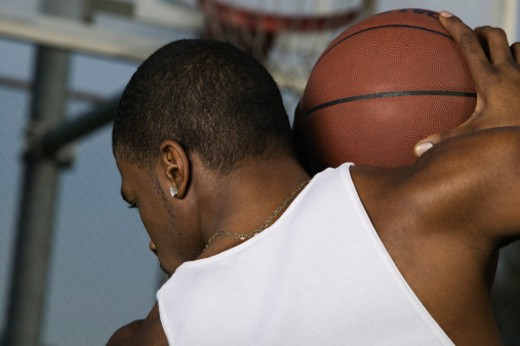 Stock Photo: 1555R-308055 Back view of basketball player