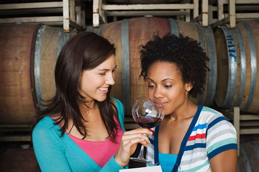 Stock Photo: 1555R-312007 Women wine tasting