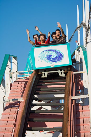 Stock Photo: 1555R-312132 People on roller coaster, Mission Beach, San Diego