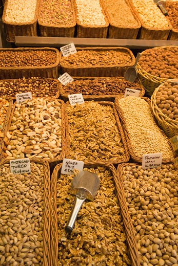 Variety of nuts in market : Stock Photo