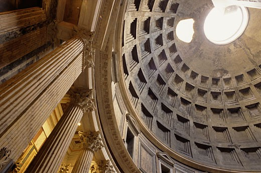Stock Photo: 1555R-313982 Low angle view of interior of Pantheon, Rome, Italy