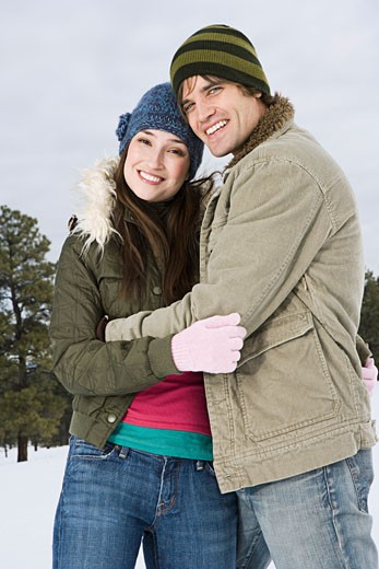 Portrait of couple in winter : Stock Photo