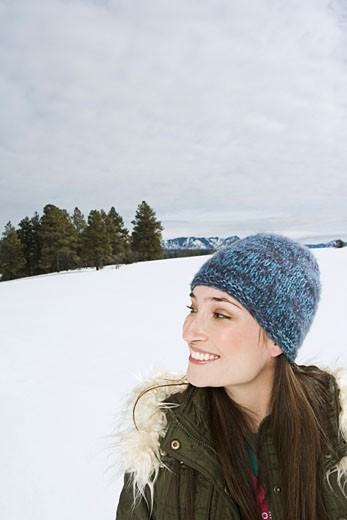 Woman in winter attire : Stock Photo