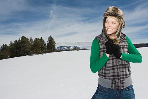 Woman in winter attire : Stock Photo