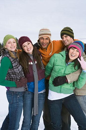 Friends in winter attire : Stock Photo