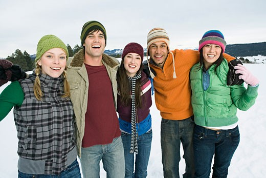 Stock Photo: 1555R-314200 Friends having fun together on winter day