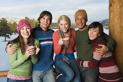 Stock Photo: 1555R-314246 Friends enjoying winter day