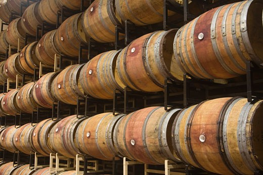 Stock Photo: 1555R-314622 Wine barrel room, Napa, California, USA