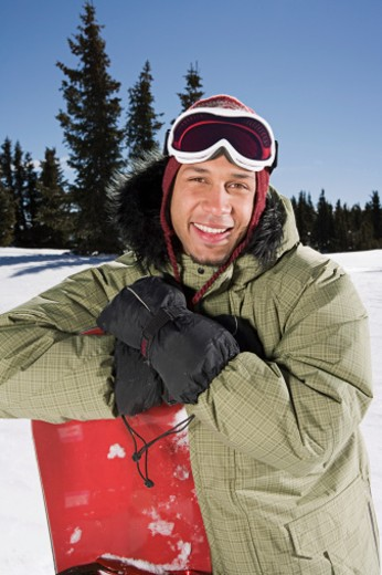 Portrait of snowboarder : Stock Photo