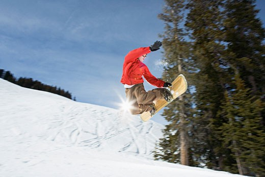 Snowboarder in midair : Stock Photo