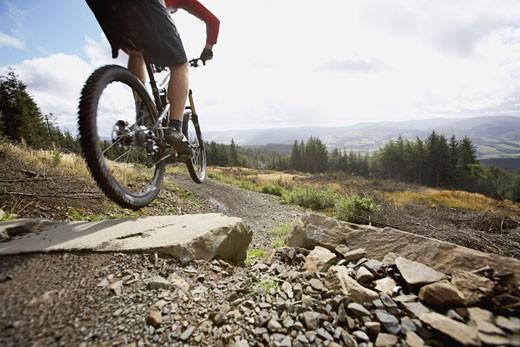Stock Photo: 1555R-314870 Man mountain biking, Scotland